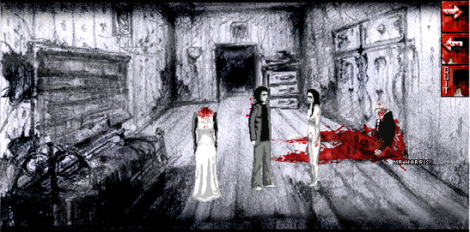 Screenshot from Downfall, showing various blood-splattered things and people.
